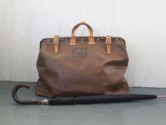 Birthday gift for Ryan.  Vintage AT Lineman's Bag Valise Weekender Luggage 1980's Industrial Tool Bag Timeworn Steampunk Satchel