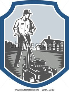 Illustration of male gardener mowing with lawn mower facing front set inside shield crest with house in background done in retro woodcut style. - stock vector #gardener #woodcut #illustration