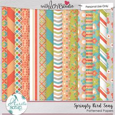 Springly Bird Song digital scrapbooking papers from Aurelie Scrap. This fun pack coordinates with the March Lovely Colors from With love Studio.