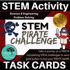 Arrrrr you ready to earn your Pirate Name? Earn gold bullion by completing these PIRATE STEM challenges and receive a REAL pirate name. Through these six challenges your students will problem solve solutions and learn facts about pirates. Complete each STEM activity to become a PIRATE! 6 STEM CHALLENGE CARDS and a STUDENT PIRATE BOOKLET Pirate Hat Challenge Pirate Spyglass Challenge Pirate Weaponry Challenge Pirate Ship Challenge Pirate Flag Challenge Pirate Treasure Map Challenge Technology Lessons, Science Lessons, Pirate Names, Pirate Treasure Maps, Stem Challenges, Stem Activities, Task Cards, Fun Learning, Problem Solving