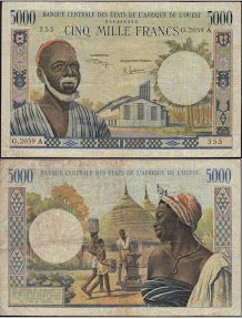 West African States 5000 Francs P French West Africa, African States, Ivory Coast, My Heritage, Bearded Men, Vintage World Maps, Coins, Baseball Cards, Money