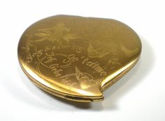 Vintage Elgin 1930s Heart Gold Tone Mirror And Makeup Compact by paleorama #makeup #gift
