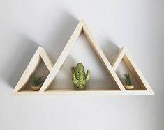 Two Peak Mountain Shelf Nursery Shelf Coors Light Shelf Floating Shelves, Crystal Shelves, Shelves, Nursery Shelves, Geometric Shelves, Mountain Shelf, Wood Crafts, Plant Decor, Modern Shelving