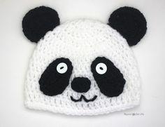 Crochet Bear Crochet Panda Bear Hat - Repeat Crafter Me ~ Crochet Panda, Crochet Baby Beanie, Crochet Fox, Cute Crochet, Crochet For Kids, Crochet Crafts, Crochet Dolls, All Free Crochet, Crochet Projects