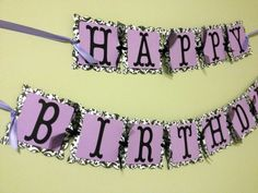 Damask Birthday Banner READY TO SHIP - Black and Purple Party Decorations - Adult Party Banner - Tween Party Decorations
