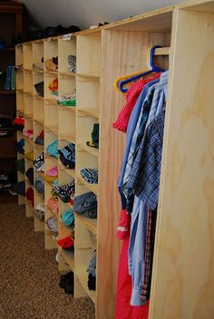 I want a family closet where I can go in ONE ROOM and put ALL the clothes away. It would be helpful if the washer and dryer were also in this room and if it joined the kids& bathroom with a laundry chute. A mom can dream, right? Laundry Chute, Laundry Closet, Laundry Room, Laundry Clothing, Organize Clothing, Laundry Area, Laundry Tips, Large Family Organization, Family Organizer