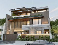 Center House on Behance Modern House Floor Plans, Modern Exterior House Designs, Modern Tiny House, 2 Storey House Design, Duplex House Design, House Front Design, Jagjit Singh, Minimal House Design, Terrace Restaurant