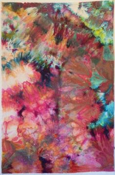 Ice dyeing by jeanneaird Fabric Dyeing Techniques, Tie Dye Techniques, Art Techniques, How To Tie Dye, How To Dye Fabric, Fabric Painting, Fabric Art, Textile Prints, Textile Art