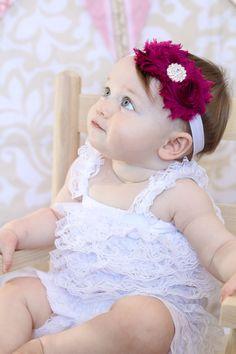 Berry Shabby Headband Shabby chic Headband Baby headband rhinestone newborn headband flower headband baby girl headband. $7.95, via Etsy.