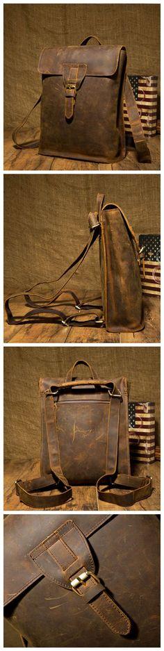 Handmade Leather Backpack, Vintage Leather Macbook Briefcase, Brown Leather Backpack.