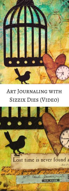 VIDEO - How to use diecuts with paint, stamps and stencils in your art journal (Marjie Kemper)
