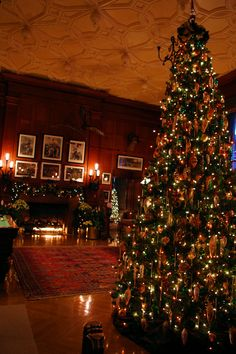 The Billiard Room inside Biltmore House during Christmas Candlelight tour