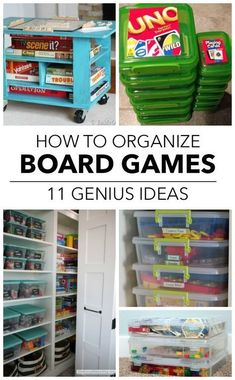 11 Ways To Finally Get Your Board Games Organized Playroom Organization Board Finally Games Organized Ways Board Game Organization, Board Game Storage, Kids Room Organization, Lego Storage, Kids Craft Storage, Kids Playroom Storage, Large Toy Storage, Organized Playroom, Outdoor Toy Storage