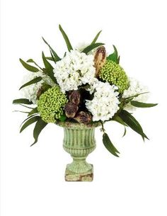 """Artificial Arrangement of Hydrangeas, Silk Greenery, Kalanchoke Seeds and Pods in Green Crackeled Urn designed by Fosters Point known for their exquisite floral and greenery designs $216.00 includes free shipping. H19"""" x W16"""". www.trendsandtraditionshomeaccents.com"""