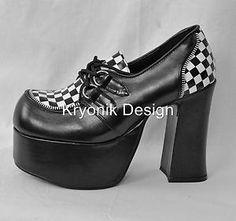Demonia Charade-12 goth gothic punk platform shoes black white checker 8