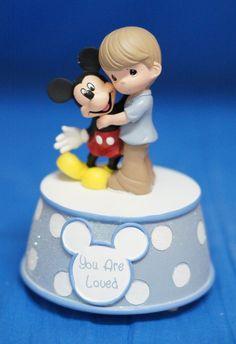 Boy Holding Mickey Mouse Musical Figurine Disney Precious Moments 132107 #PreciousMoments