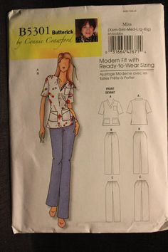 3b59d2c30c3 Butterick 5301 Connie Crawford Designs Misses Uniform Scrubs Sizes XSmall  up to XLarge Patterned Sheets,