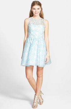 Hailey Logan Illusion Floral Embroidered Party Dress (Juniors) available at #Nordstrom