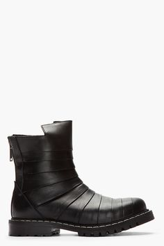 Black Paneled Leather Boots