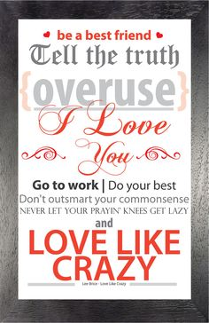 Love Like Crazy - Lee Brice- 11x17- Lyric Print - Typographic Art Print - Country Song Lyrics