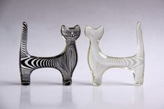 není sklo       WOW....Abraham Palatnik Set of Two Lucite Cat Figurines  by 1001vintage,