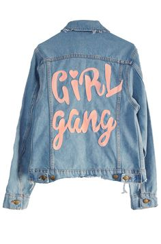 Don't forget to support your local Girl Gang, or you can start your own one... The most classic of the denim jackets, it features distressed ra...