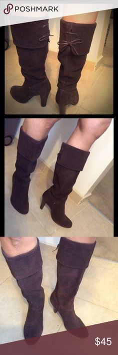 """suede leather heeled boot Beautiful leather suede boots. In great condition. Small lace up bow in the back. Dark brown. 3.5"""" block heel. 12"""" shaft. Can be unfolded to go over knee if you want. Size 8. TriBeCa by Kenneth Cole. Kenneth Cole Shoes Heeled Boots"""