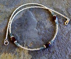 Garnet and moss aquamarine beaded necklace, delicate gemstone necklace, garnet necklace, garnet choker, gemstone beaded choker, by TamDavisDesigns on Etsy