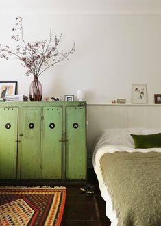 Dark wooden floor and green
