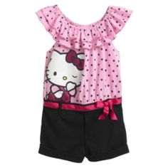 Hello Kitty Clothing for Girls' Hello Kitty Clothes, Polka Dot Top, Super Cute, Rompers, Lovely Things, Best Deals, Shopping, Tops, Girls