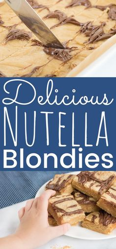 This easy Nutella Blondies recipe is perfect for any holiday dessert table. An easy recipe perfect to share with family and friends. If you love Nutella recipes then this blondies dessert needs to be at your next gathering! Chewy and thick filled with Nutella hazelnut spread! - simplytodaylife.com #Nutella #NutellaBlondies #Blondies #Dessert #EasyDessert #EasyBlondies #NutellaRecipes #EasterDessert