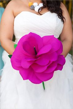 pink paper wedding bouquet