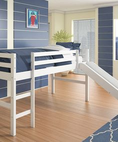 Slide out of bed! Loving this White Pine Loft Bed & Slide on #zulily! #zulilyfinds