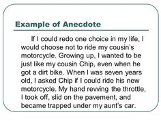 Using An Ancedote In Introductory Paragraph Of Essay