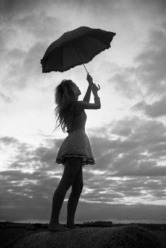 umbrella, clouds, girl, black and white, photography