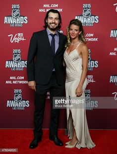 Drew Doughty of the Los Angeles Kings and girlfriend Nicole Arruda arrive on the red carpet before the 2015 NHL Awards at MGM Grand Garden Arena on June 24, 2015 in Las Vegas, Nevada.