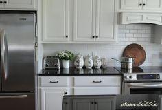 """""""white kitchen, black counter""""    My Parents' Kitchen by Dear Lillie"""