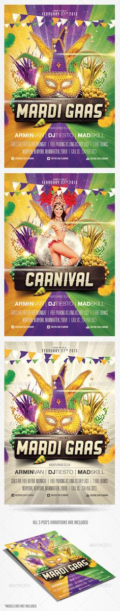 Mardi Gras Carnival Flyer Template - GraphicRiver PSD file