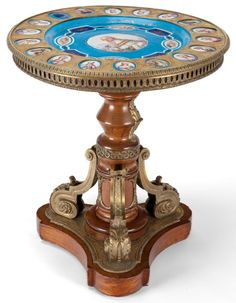A LOUIS XVIII STYLE PORCELAIN, GILT BRONZE AND WOOD TRIPOD TABLE