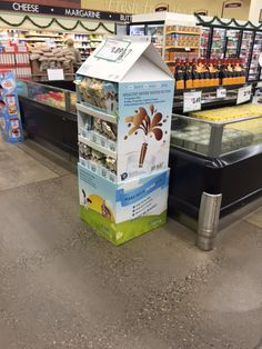 This display provides extra floor space near the milk, and it's clever design reminds you of the connection to milk. See other samples of our work on our website. (Custom Displays, Corrugated Displays, POS Displays)