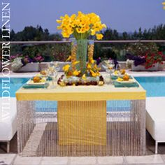 Yellow linen and flowers.