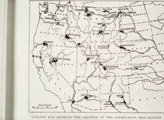 Photograph of an outline map showing the Western half of the United States, showing the location of the government reclamation, from unidentified source :: UNM CSWR Collection of J.B. Jackson Pictorial Materials; Arizona depicted.