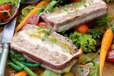 This pork and chicken terrine may take a little work ahead of time, but it makes the best sharing food served with crunchy salad. Pate Recipes, Cooking Recipes, Healthy Recipes, Terrine Recipes, Foie Gras, Ceviche, Chicken Terrine, Mousse, Salad Ingredients