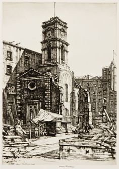 St Olave's, Tooley Street, - Sir Henry Rushbury RA RE Drypoint
