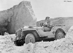 A Jeep being tested on sharp gradients in the Western Desert, 13 August 1942.