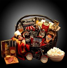 Buy He's A Motorcycle Man Gift Basket. More - He's A Motorcycle Man Gift Basket. He's A Motorcycle Man Gift BasketWeekend warriors and die hard motorcycle fans alike will love this Motorcycle themed gift basket. Send Gift Basket, Gift Baskets For Him, Themed Gift Baskets, Raffle Baskets, Diy Gift Baskets, Gourmet Gift Baskets, Gourmet Gifts, Food Gifts, Gifts For Him