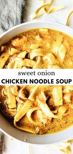 Sweet Onion Chicken Noodle Soup   Grab the Mangos  Pasta, Noodles This sweet onion chicken noodle soup is so easy to make and so savory and delicious! Made with sweet onions, chicken, egg noodles, spices and broth, and red wine vinegar for that extra kick of flavor! Better than canned every time. #best #homemade #howtomake Chicken And Egg Noodles, Best Chicken Noodle Soup, Homemade Egg Noodles, Pasta Noodles, Chicken Soup, Best Pasta Recipes, Easy Soup Recipes, Simple Noodle Soup Recipe, Vegan Fudge