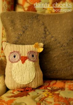 Customizable upcycled knit owl pilliow by DaintyCheeksBoutique, $38.00