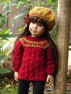 HandKnit Wool Sweater & Beret for Kidz n Cats dolls Aletta by Debonair Designs