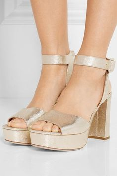 Miu Miu - Metallic Textured-leather Platform Sandals - Gold - IT36.5